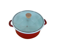 18, 20, 22cm Top Quality Enamel Cooking Pot With Tempered Glass Cover Wooden Knob Porcelain Casserole Multi Enamel Cookware