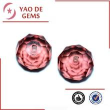 Pulido precious 6 * 10 talló la bola de rose de color rojo accesorios de la joyería de piedras preciosas zirconia cúbico