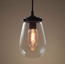 6.3-8 Glass Pendant Light Lamp Modern Home Decoration Edison Chandelier
