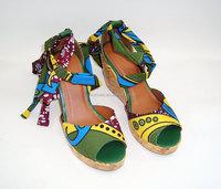 2015 New fashion fancy Latest Desig model summer Cork wedge women sandals High heel sling back wedges women high heel sandals