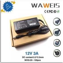 Low MOQ AC 100-240V input 12V 3A power supply 12V AC adapter For 3528 5050 Led Strip