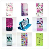 For Apple iphone 5s 5 / 4 4s Fashion man/woman Luxury Sleep Owl Family Leather Wallet Style Magnetic Flip Case Cover