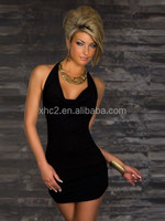 Wholesale Black Ladies Sexy Lingerie Cocktail Night Club Party Halter Ribbed Mini Dress