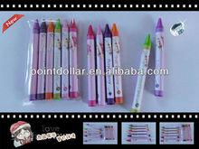 Non-Toxic Wax Colour Crayon Pack 6pcs Crayon Pen Packed in a Mini Cello Bag