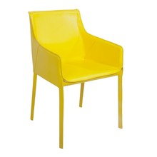 Modern yellow leather armrest dining chair