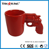 China red color coffee mug ,gun shape handle , shot glass coffee
