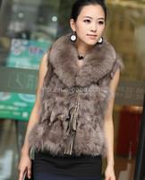 Fashion Winter Warm Luxury Women Fur Fox Long Waistcoat Coat Jacket Vest Outwear