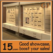 Production white store design furniture white wooden optical display cabinet wholesale boutique furniture