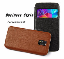 Head layer cowhide leather case for samsung galaxy s5 flip genuine leather case for samsung s5