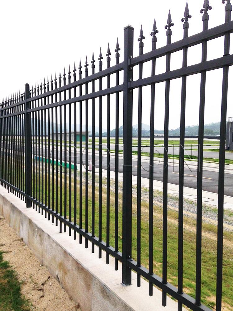 Factory black power coated iron fence panels wrought