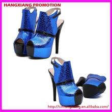 Elegant Royal Blue Dress Shoes Cheap Wholesale Platforms Open Toe For Party