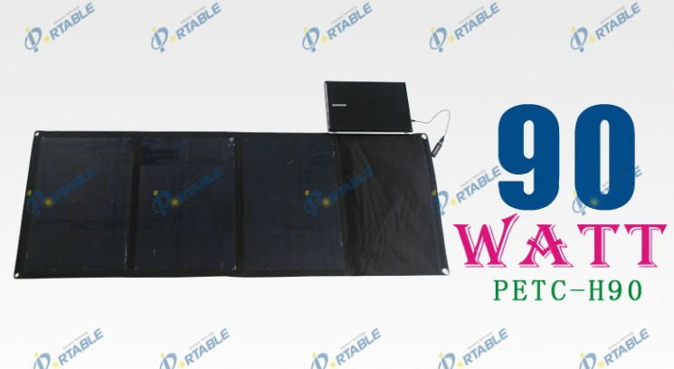 China Factory 90W folding solar panel,sunpower solar panel module high efficient for iphone,iPad,laptop,12V battery Charger Bag