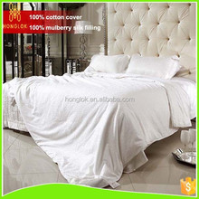 100% mulberry silk filler plain ivory quilt with cotton cover