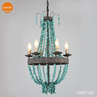2015 new country style 6-lights small turquoise beads chandelier antique wrought iron candle pendant lamp in china