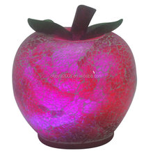 "6"" red Crackled Glass Mosaic Outdoor Patio Garden Gazing Ball apple shaped"
