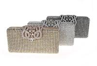 Top Shiny gold hard case clutches designer crystal stone evening bag
