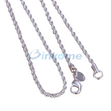 New Elegant Silver plated Chain Necklace Jewelry 2MM 16-24inch Twisted Rope Necklace summer style,summer jewelry