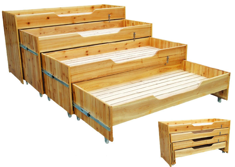Natural Wood 4 Layer Toddler Bed Children Bedroom Furniture Wooden Bed Space Saving Baby Bed Qx