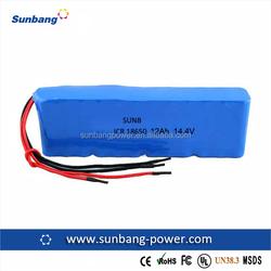 SUNB 18650 14.4v 12Ah 12000mAh phone battery pack/lithium ion car battery
