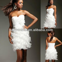 2013 Latest design Sweetheart neck PLeated bodice overlap with feather slim skirt Cocktail dress CD1316