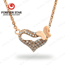 New Arrival Gold Chain Design Diamond Heart Jewelry 18 Carat Wedding Gold Necklace Designs in 3 Grams