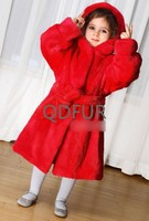 QD80672 European-American Fashion Kids Girl Ladies Red Mink Fur Winter Coat with Bigger Hood