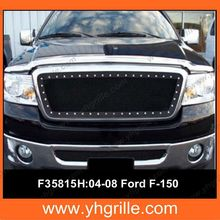 Fits 2004-2008 Ford F-150 Rivet Black Stainless Steel Mesh Grille