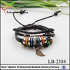 Wholesale fashion braided multilayer leather infinity bracelet with leaf&cross charm