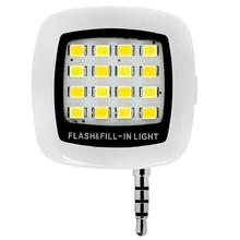 White Portable Pocket Spotlight 16 LED Selfie Flash Light For iPone ,Samsung, LG, Motorola, HTC, Cell Phonesne,