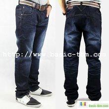 Hombres 100% lavada de algodón azul de mezclilla pantalones vaqueros