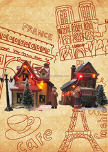 Chirstmas Ceramic lighted village house Xmas decoration with C7
