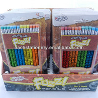 hot sale 12 pcs drawing fuzzy pencil with color eraser head