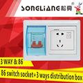 Switch 86 socket+3 maneiras caixa de distribuição
