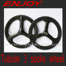 enjoybicycle best carbon 3 spoke bike wheels tubular for 700c road/track/fixe bicycle, 3k/UD road and track