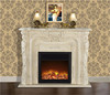 Elegant Rococo Style Mantelpiece fireplace, Hand Carved Hearth Electric Fireplace with Heater in Stone White Color