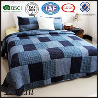 Email Trade cheap stock Blue chambray simple square patchwork bedspread quilt