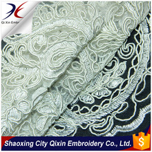NEWEST DOUBLE SCALLOP PATTERN HEAVY WHITE CORD LACE EMBROIDERY FABRIC ON NYLON MESH GROUND FOR WEDDING OR PARTY DRESS