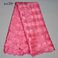 African top sale water soluble chemical lace fabric for women's dress in aqua, fushia and pink