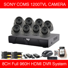 DVR KITS system with 8 Dome 8 Bullet 720P AHD cameras CCTV System 8CH AHD DVR KIT 1200TVL HDMI DVR System CCTV Camera KIT