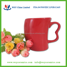 customized waisted solid color stoneware ceramic coffee mug with ear handle