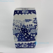 RYLU23-A 17 inch Blue And White Flower Bird Square Ceramic Garden Stool