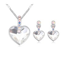 19699 2015 costume bridal wedding jewelry set heart necklace and earrings