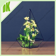 2015 high quality terrarium vase cup design, Glass supplies wholesale fashion table standing copper frame glass plant terrarium