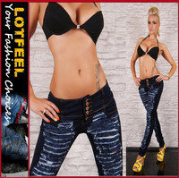 new sexy jeans in a very cute rip look women denim jeans pants(LOTX005)