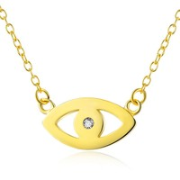 Gold Chain Sterling Silver Lucky Evil Eye Pendant Necklace