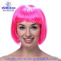 Venta al por mayor baratos sintéticos hot pink bob pelucas