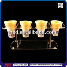 Store table top 4 slots clear acrylic ice cream cone holder