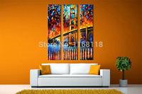 3 piece modern decor art set colorful river-spanning Bridge landscape palette knife hand painted Oil Painting on Canvas