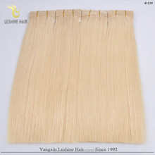 2015 Best selling!!! wholesale price double weft Drawn no shedding tangle blonde human hair ponytail