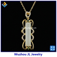 JL Jewelry Spring Natural Hetian Jade Serial Jade 925 Sterling Silver 18K Plated Fashion Pendant